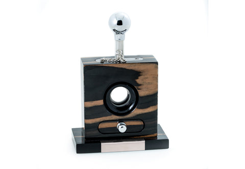 Photo of the Bey-Berk Lacquered Gold & Black Ebony Wood and Stainless Steel Table Top Guillotine Cigar Cutter
