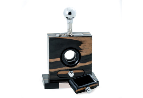 Bey-Berk Lacquered Gold & Black Ebony Wood and Stainless Steel Table Top Guillotine Cigar Cutter with open drawer