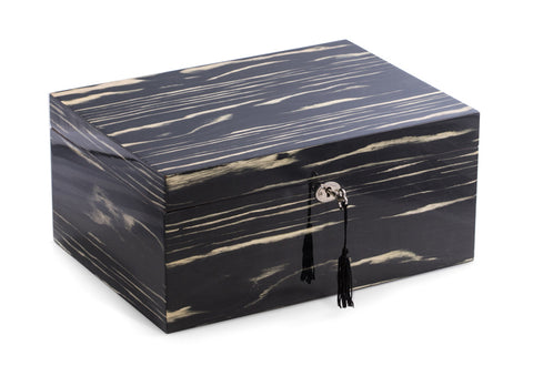 Photo of the close Bey-Berk Lacquered Ebony Wood Cigar Humidor - 100 Cigars SKU C416