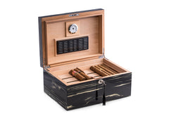 Bey-Berk Lacquered Striped Ebony Wood Cigar Humidor - 100 Cigars