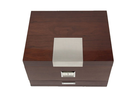 Photo of the closed front facing Bey-Berk Walnut Humidor Accessories Drawer - 60 Cigars C415