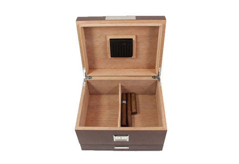 Photo of the open Bey-Berk Walnut Humidor Accessories Drawer - 60 Cigars C415