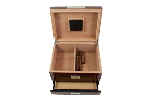 Photo of the open with drawer Bey-Berk Walnut Humidor Accessories Drawer - 60 Cigars C415