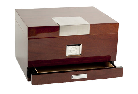 Photo of the closed angled Bey-Berk Walnut Humidor Accessories Drawer - 60 Cigars C415