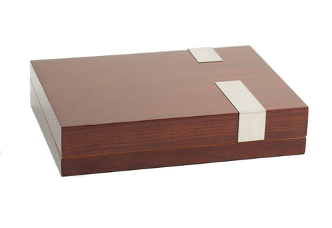 Photo of the angled closed Bey-Berk Walnut Travel Humidor - 12 Cigars C410