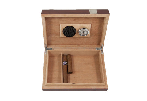 Photo of the front facing open Bey-Berk Walnut Travel Humidor - 12 Cigars C410