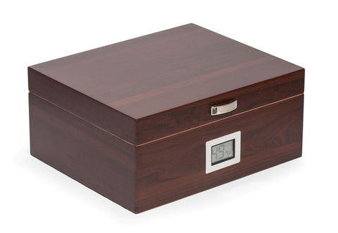 Photo of the closed Bey-Berk Walnut Wood Cigar Humidor - 50 Cigars SKU C422