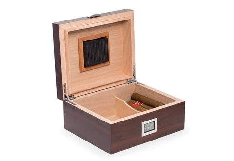 Photo of the open Bey-Berk Walnut Wood Cigar Humidor - 50 Cigars SKU C422