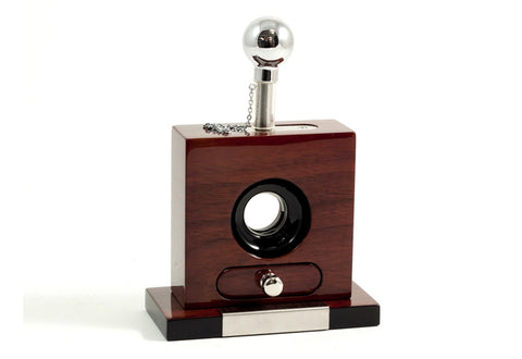 Photo of the angled Bey-Berk Lacquered Walnut Wood Table Top Guillotine Cigar Cutter