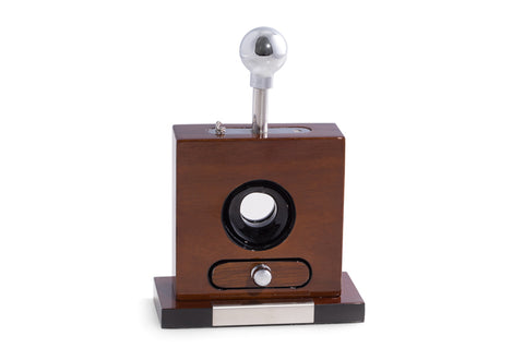 Photo of the front facing Bey-Berk Lacquered Walnut Wood Table Top Guillotine Cigar Cutter