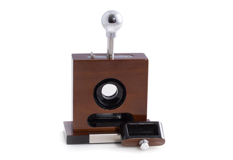 Photo of the front facing with open drawer Bey-Berk Lacquered Walnut Wood Table Top Guillotine Cigar Cutter