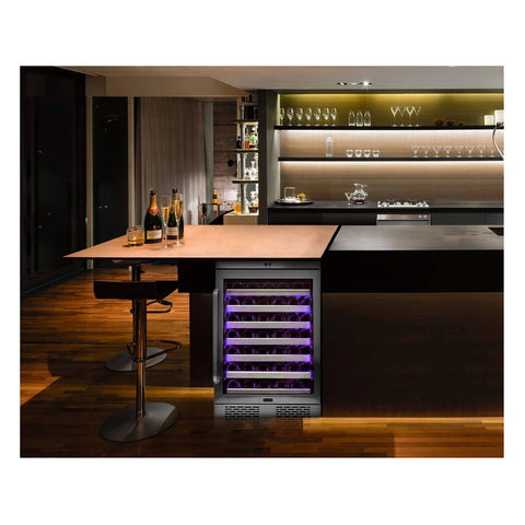 Whynter 545XS Whynter Elite Spectrum Lightshow 54 Bottle Stainless Steel 24 inch Built-in Wine Refrigerator with Touch Controls and Lock