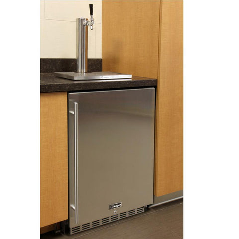 Kegco HK38BSC-L-1 Full Size Digital Commercial Undercounter Kegerator with X-CLUSIVE Premium Direct Draw Kit - Left Hinge