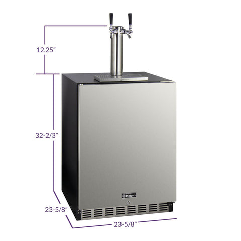 Kegco K48BSA-L-2 Dual Tap ADA Undercounter Kegerator with X-CLUSIVE Premium Direct Draw Kit - Left Hinge