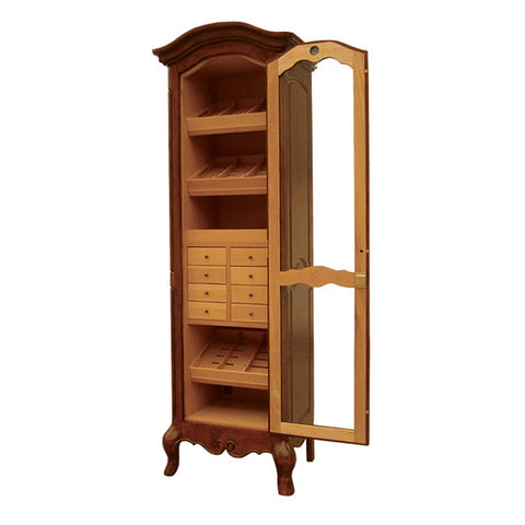 Quality Importers, Humidor Antique Style Cigar Tower Display  with Shelves, Humidor - Humidor Enthusiast