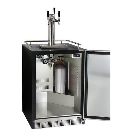 Kegco ICHK38BSU-3 Triple Faucet Full Size Digital Cold Brew Coffee Undercounter Javarator - Black Right Hinge