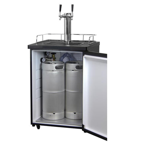Kegco KOM20S-1NK Kombucha Cooler Dispenser with Black Cabinet and Stainless Steel Door