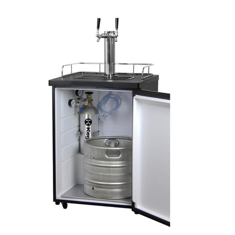 Kegco K209SS-2NK Two Keg Tap Faucet Beer Dispenser - Black Cabinet with Stainless Steel Door