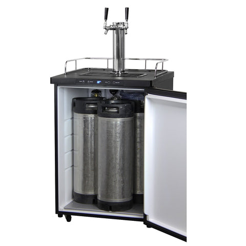 Kegco KOM30X-2NK Two Faucet Digital Kombucha Keg Cooler - Black Cabinet with Black Stainless Steel Door
