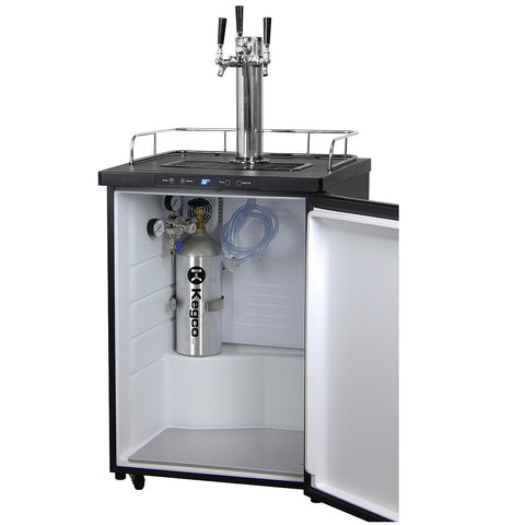 Kegco KOM30S-3NKThree Faucet Digital Kombucha Dispense System - Black Matte Cabinet and Stainless Steel Door