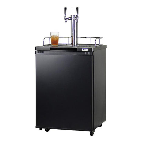 Kegco KOM20B-2NK Dual Faucet Kombucha Keg Cooler with Black Cabinet and Door