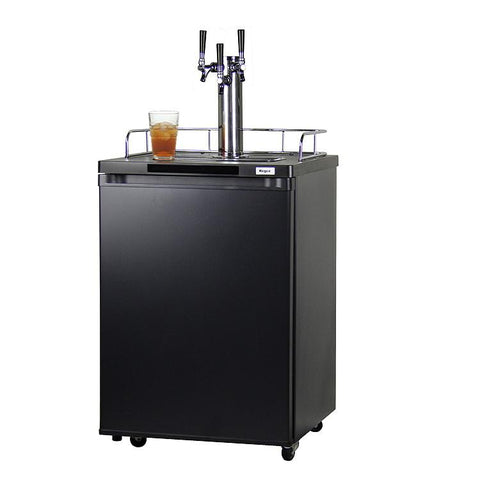 Kegco KOM20B-3 Triple Faucet Kombucha Keg Cooler with Black Cabinet and Door