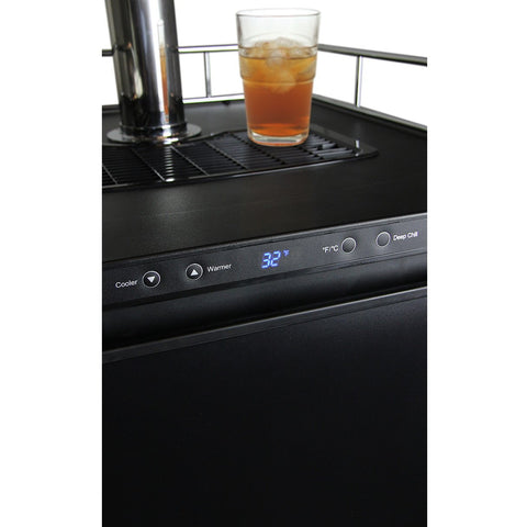 Kegco KOM30B-2 Double Faucet Digital Kombucharator - Black Cabinet with Matte Black Door