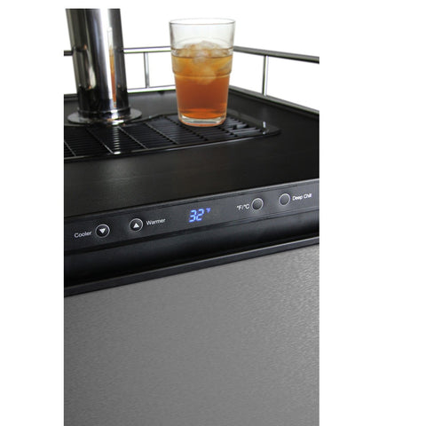 Kegco KOM30S-1NK Digital Kombucha Keg Cooler - Black Cabinet with Stainless Steel Door