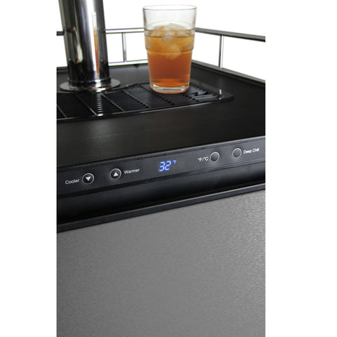 Kegco KOM30S-2NK Two Faucet Digital Kombucha Keg Cooler - Black Cabinet with Stainless Steel Door