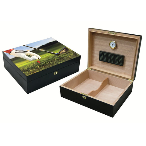 Prestige Import Group, Prestige Import Group 9-Iron Vivid 3D Golf Scene Humidor, Humidor - Humidor Enthusiast