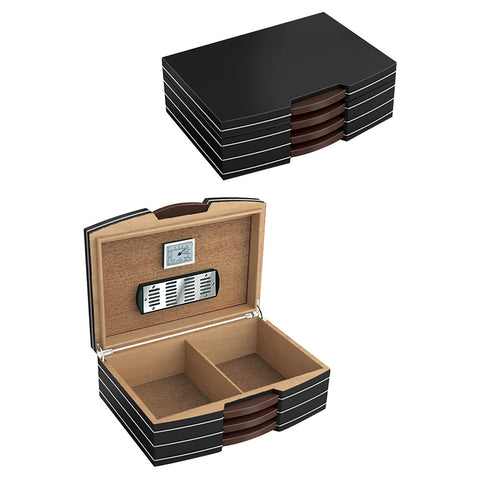 Prestige Import Group, Prestige Import Group 'Carlton' Black Humidor w/ Silver Hardware, Humidor - Humidor Enthusiast