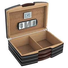 The Carlton Black Humidor w/ Silver Hardware by Prestige Import Group