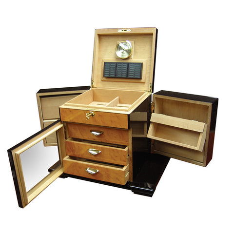 Prestige Import Group, Prestige Import Group 'The Baccus' Desktop Humidor with Side Storage, Humidor - Humidor Enthusiast
