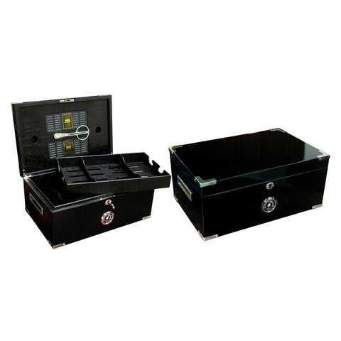 Prestige Import Group, Prestige Import Group 'The Dakota' Black Humidor with Scissors, Humidor - Humidor Enthusiast