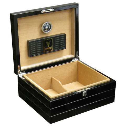 Prestige Import Group, Prestige Import Group 'The Onyx' High Gloss Black Humidor, Humidor - Humidor Enthusiast