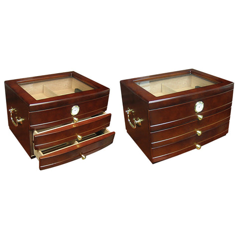 Prestige Import Group, Prestige Import Group 'The Regent' Glass Top Humidor with Drawers, Humidor - Humidor Enthusiast