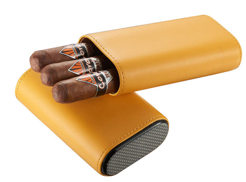 Visol Burgos Yellow Leather Cigar case - Holds 3 Cigars - Humidor Enthusiast
