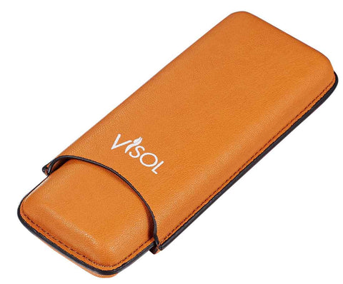 Visol Dakota Tan 60 Ring Gauge Cigar Case -Holds 2 Cigars - Humidor Enthusiast