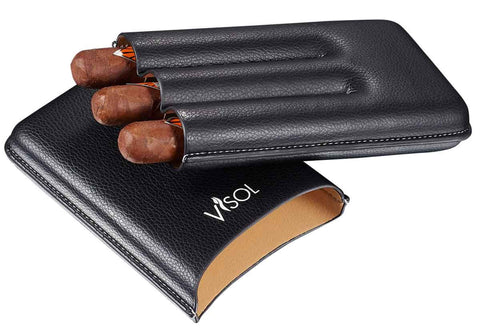 Visol Dakota Black 60 Ring Gauge Cigar Case - Holds 3 Cigars - Humidor Enthusiast