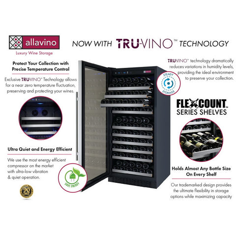 Allavino 128 Bottle Single Zone Stainless Steel Wine Refrigerator