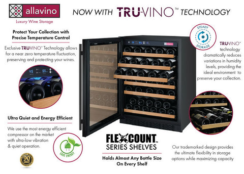 Allavino 56 Bottle Single Zone Black Wine Refrigerator