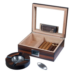 Visol Aidan Glass Top Humidor Gift Set with Cutter and Ashtray Humidor