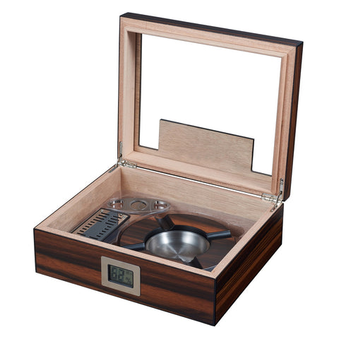 Visol, Visol Aidan Glass Top Humidor Gift Set with Cutter and Ashtray Humidor, Humidor - Humidor Enthusiast