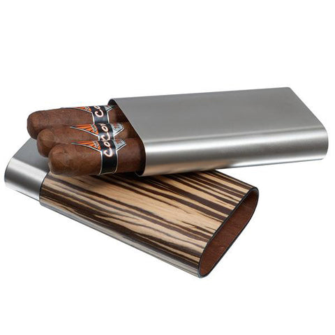 Visol, Visol Carver Zebrawood and Stainless Steel Case, Humidor - Humidor Enthusiast
