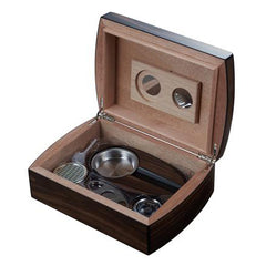Visol Burkhard Gift Set Wood Humidor with Ashtray and Cutter