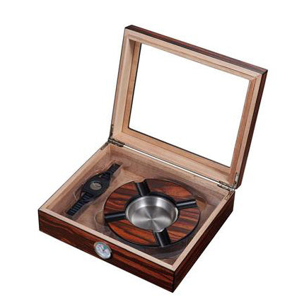 Visol, Visol Eiger Small Glasstop Humidor, Ashtray and Cutter Gift Set, Humidor Set - Humidor Enthusiast