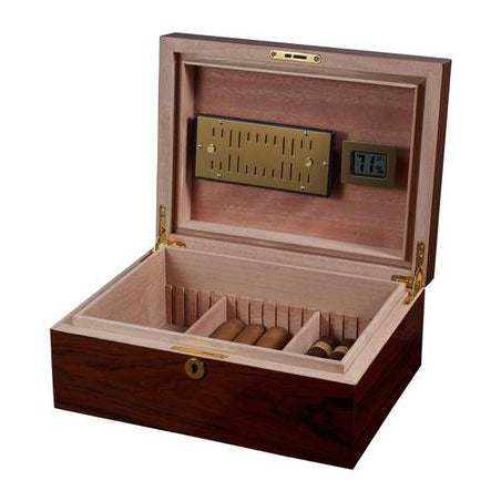 Visol, Visol Hagan Polished Oak Wood Locking Humidor, Humidor - Humidor Enthusiast