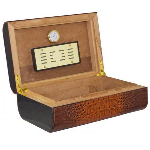 Visol, Visol Brown Crocodile Leather Humidor, Humidor - Humidor Enthusiast
