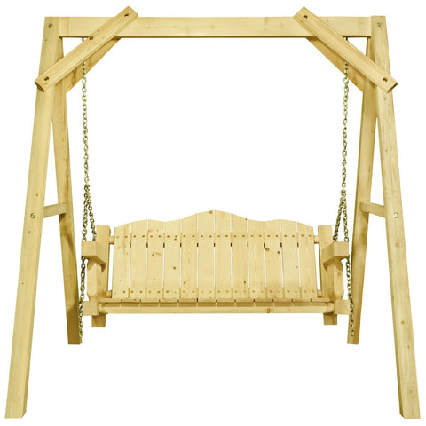 "Homestead  Lawn Swing w/ ""A"" Frame, Clear Exterior Finish"