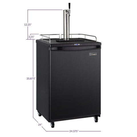 Kegco Z163B-1NK Single Tap Faucet Full Size Commercial Grade Digital Kegerator - Black Cabinet with Black Door